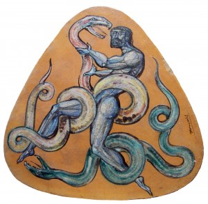 Beppe Domenici, triangle table Hercules fighting with low snakes